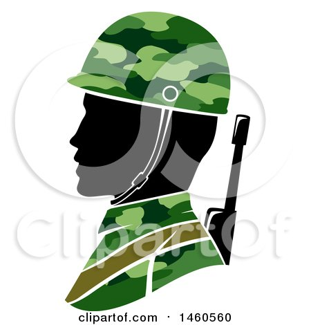 Clipart of a Silhouetted Male Army Soldier in Profile - Royalty Free Vector Illustration by BNP Design Studio