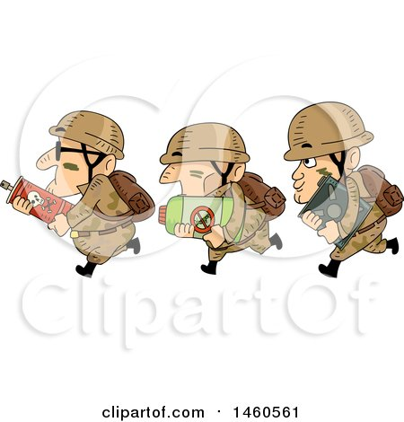 Clipart of a Row of Running Male Soldiers with Pesticides - Royalty Free Vector Illustration by BNP Design Studio