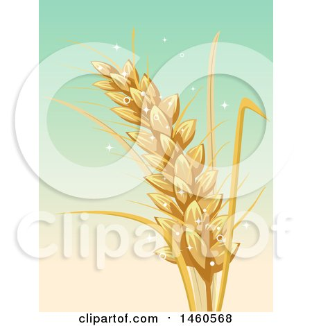 Clipart of a Wheat Stalk over Gradient - Royalty Free Vector Illustration by BNP Design Studio