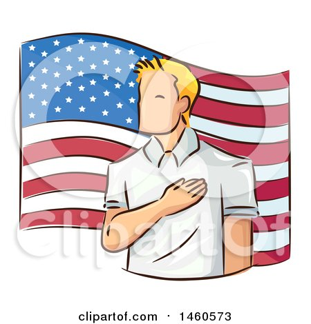 Clipart of a Sketched Man Pledging Allegiance to the American Flag - Royalty Free Vector Illustration by BNP Design Studio