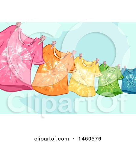 Clipart of a Clothesline with Colorful Tie Dye Shirts - Royalty Free Vector Illustration by BNP Design Studio