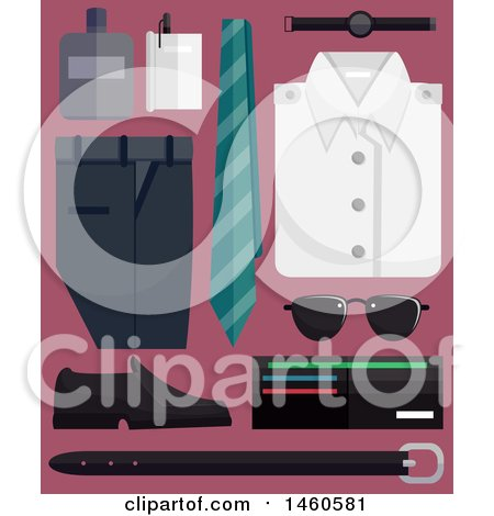 Clipart of Male Fashion Elements like Necktie, Slacks, White Shirt, Watch, Sunglasses, Wallet, Pen, Cologne and Belt - Royalty Free Vector Illustration by BNP Design Studio
