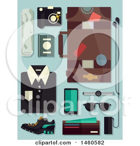 Clipart of Male Fashion Elements for Travel Including Luggage, Camera, Shirt, Sunglasses, Wallet, Mobile and Passport - Royalty Free Vector Illustration by BNP Design Studio