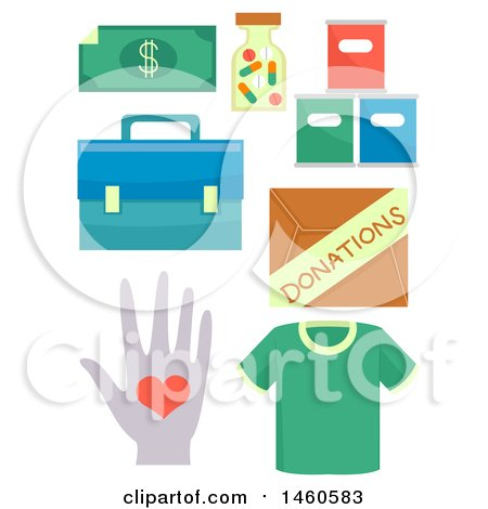 Clipart of Donation Elements like Cash, Medicine, Groceries, First Aid Kit, Box of Donations, Clothing and Voluntary Service - Royalty Free Vector Illustration by BNP Design Studio