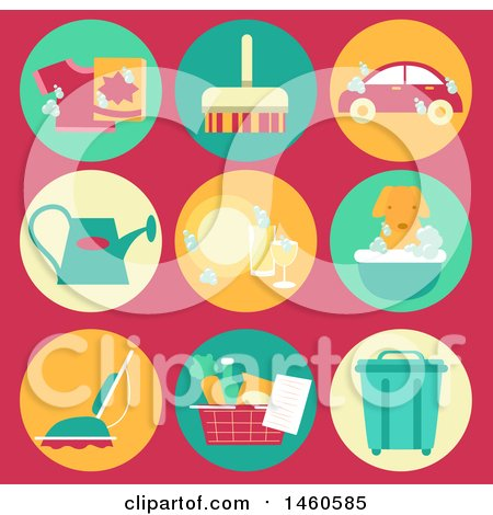Clipart of Common Household Chore Icons like Laundry, Sweeping, Car Wash, Watering Plants, Cleaning Dishes, Vacuum, Groceries and Emptying Trash - Royalty Free Vector Illustration by BNP Design Studio