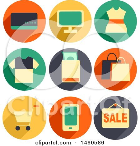 Clipart of Shopping Icons like Credit Card, POS, Dress, Shirt, Money, Shopping Bag, Shopping Cart, Mobile and Sale - Royalty Free Vector Illustration by BNP Design Studio