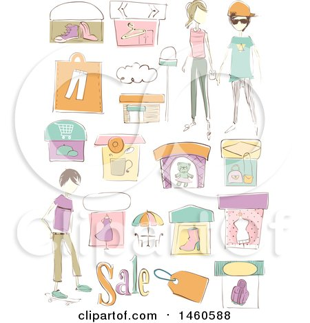 Clipart of Sketched Clothing Shops, Boutiques, Sales Tag and ...