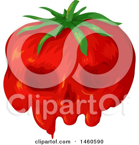 Clipart of a Gmo Tomato with a Skull Face - Royalty Free Vector Illustration by BNP Design Studio