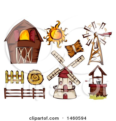 Clipart of a Barn and Farm Design Elements - Royalty Free Vector Illustration by BNP Design Studio