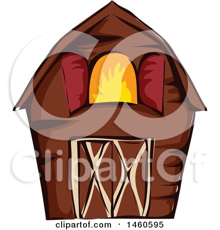 Clipart of a Brown Barn - Royalty Free Vector Illustration by BNP Design Studio
