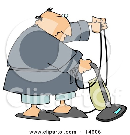 Clipart Of An Outlined Boy Using A Canister Vacuum