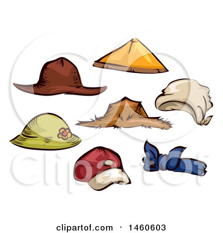Clipart of Farming and Gardening Hats - Royalty Free Vector Illustration by BNP Design Studio