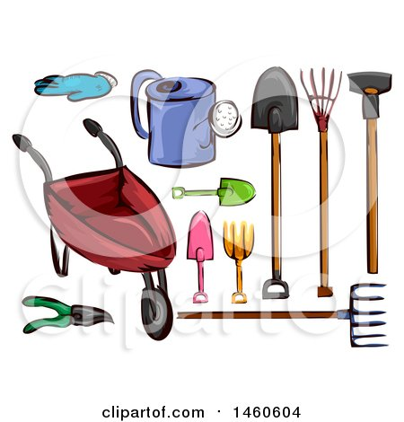 Clipart of Gardening Tools - Royalty Free Vector Illustration by BNP Design Studio