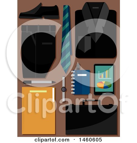 Clipart of a Business Suit, Neck Tie, Shoe, Briefcase, Tablet, Notebook and Pen on Brown - Royalty Free Vector Illustration by BNP Design Studio
