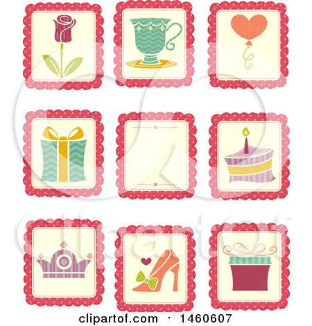Clipart of Sticker Styled Designs with a Rose, Gift, Cake, Crown, Shoe, Cake, Balloon and Cup - Royalty Free Vector Illustration by BNP Design Studio