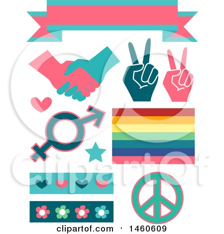 Gender Equality Signs and Elements like a Ribbon, Handshake, Peace Sign, Rainbow, Hearts and Flowers Posters, Art Prints