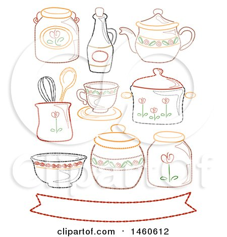 Clipart of Embroidered Country Style Kitchen Elements with Ribbon and Various Containers - Royalty Free Vector Illustration by BNP Design Studio