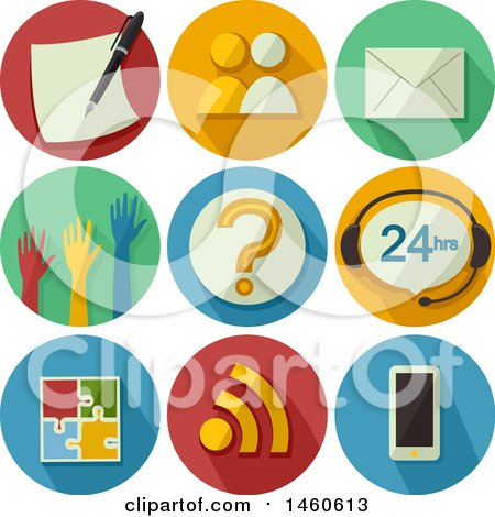 Clipart of Feedback Icons Including Survey, Interview, Mail, Show of Hands, Question Mark, Chat, Web Feed, Puzzle and Mobile - Royalty Free Vector Illustration by BNP Design Studio