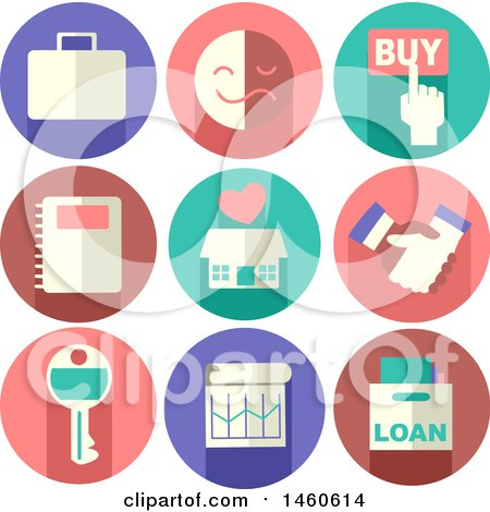 Clipart of Real Estate Icons like Briefcase, Buy Button, Emotion, Notebook, House, Handshake, Key, Chart and Loan - Royalty Free Vector Illustration by BNP Design Studio