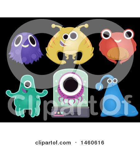 Clipart of Group of Cute and Weird Alien Elements Isolated Against Black - Royalty Free Vector Illustration by BNP Design Studio