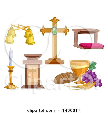 Clipart of Different Objects Used at a Mass Ceremony Including a Chalice, Cross, Lectern, Altar Bell, Candle Holder and Kneeling Bench - Royalty Free Vector Illustration by BNP Design Studio