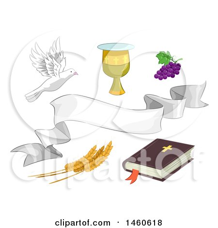 Clipart of Different Religious Elements Including the Bible, a Chalice, Grapes, Wheat, White Dove and White Ribbon - Royalty Free Vector Illustration by BNP Design Studio