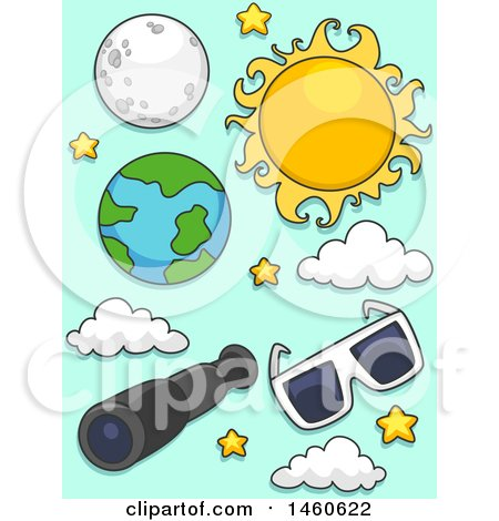 Clipart of a Sun, Moon, Earth, Telescope and Eclipse Glasses for Solar and Lunar Eclipse - Royalty Free Vector Illustration by BNP Design Studio