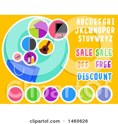 Clipart of Shopping Design Labels with Sale, Off, Free and Discount Texts - Royalty Free Vector Illustration by BNP Design Studio