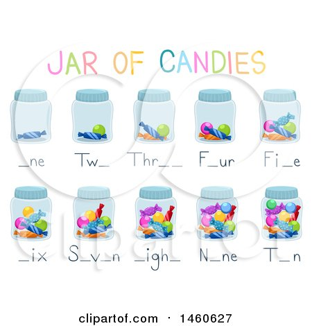 Clipart of Jars of Candies Activity for Teaching Counting Numbers - Royalty Free Vector Illustration by BNP Design Studio