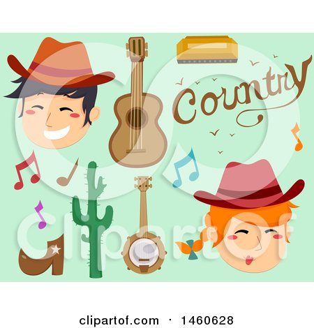 Clipart of Cowboys and Country Music Icons - Royalty Free Vector Illustration by BNP Design Studio