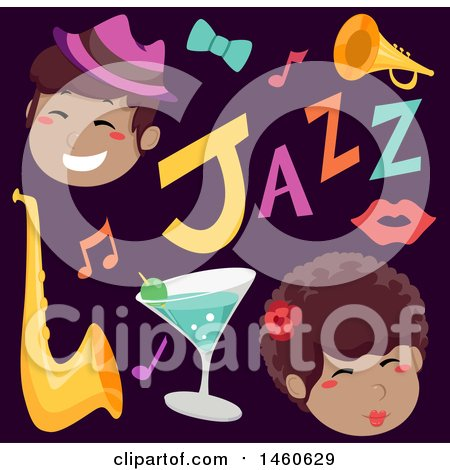 Clipart of Singers and Jazz Music Icons - Royalty Free Vector Illustration by BNP Design Studio