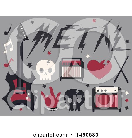 Clipart of Skulls and Metal Music Icons - Royalty Free Vector Illustration by BNP Design Studio