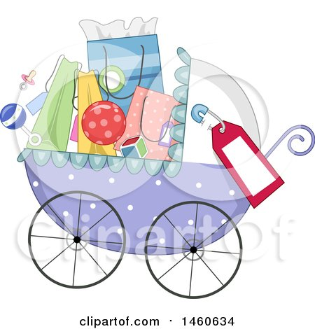 Clipart of a Baby Stroller Full of Baby Shower Gifts or Shopping Bags - Royalty Free Vector Illustration by BNP Design Studio