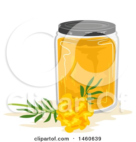 Clipart of a Marigold Flower and Jar of Dye - Royalty Free Vector Illustration by BNP Design Studio