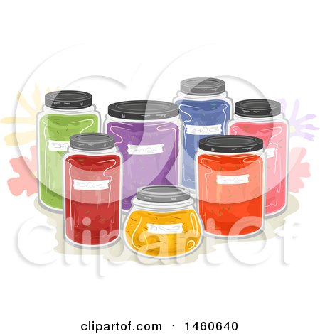 Clipart of Natural Dyes in Jars - Royalty Free Vector Illustration by BNP Design Studio