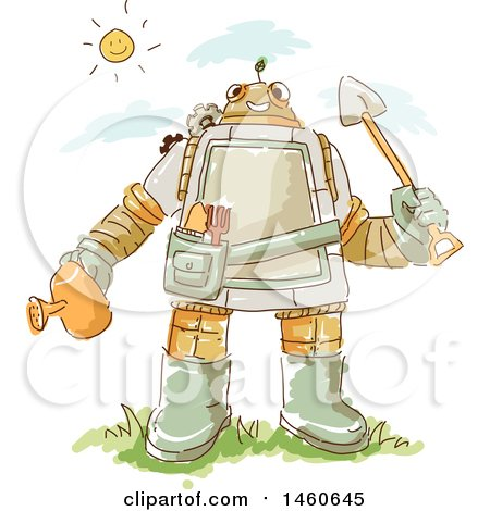 Clipart of a Sketched Gardener Robot - Royalty Free Vector Illustration by BNP Design Studio
