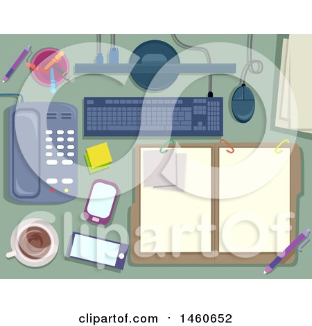 Clipart of Notes, Folder, Keyboard, Monitor, Pens, Phone, Coffee and Mobile - Royalty Free Vector Illustration by BNP Design Studio