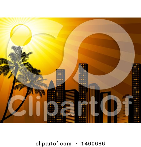 Clipart of a City Skyline with an Orange Sunset Sky and Palm Trees - Royalty Free Vector Illustration by elaineitalia