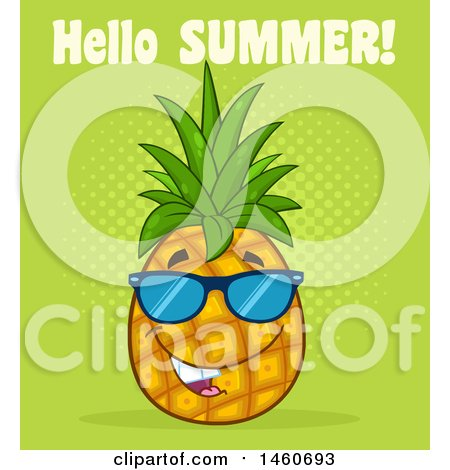 Pineapple Mascot Wearing Sunglasses With Hello Summer Text On Green