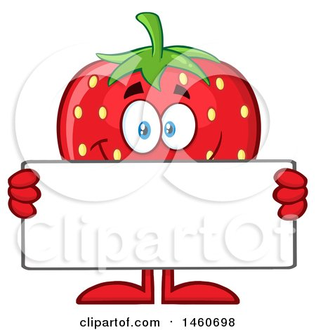 Clipart of a Strawberry Mascot Character Holding a Blank Sign - Royalty Free Vector Illustration by Hit Toon