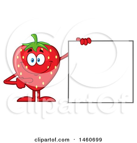 Clipart of a Strawberry Mascot Character Pointing to a Blank Sign - Royalty Free Vector Illustration by Hit Toon