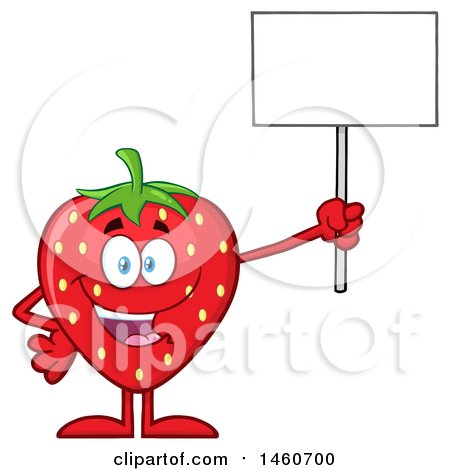 Clipart of a Strawberry Mascot Character Holding up a Blank Sign - Royalty Free Vector Illustration by Hit Toon