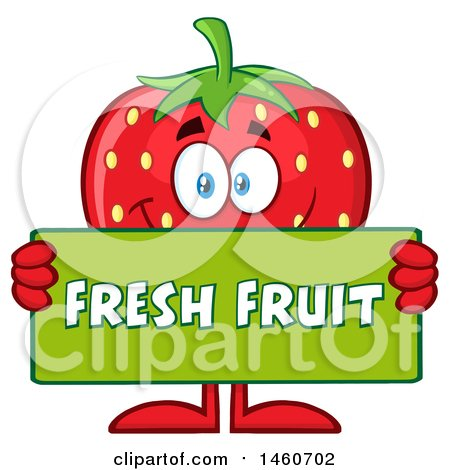 Clipart of a Strawberry Mascot Character Holding a Fresh Fruit Sign - Royalty Free Vector Illustration by Hit Toon