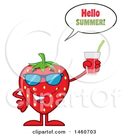 Clipart of a Strawberry Mascot Character Wearing Sunglasses, Saying Hello Summer, and Holding a Glass of Juice - Royalty Free Vector Illustration by Hit Toon