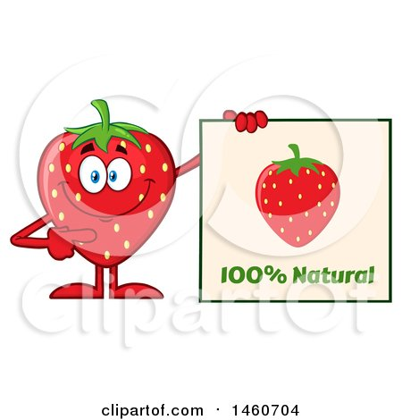 Clipart of a Strawberry Mascot Character Holding a Natural Sign - Royalty Free Vector Illustration by Hit Toon