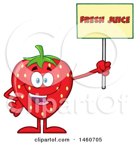 Clipart of a Strawberry Mascot Character Holding up a Fresh Juice Sign - Royalty Free Vector Illustration by Hit Toon