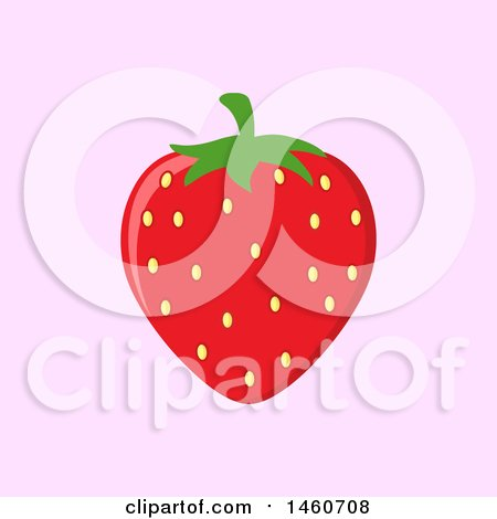 Clipart of a Strawberry over Pink - Royalty Free Vector Illustration by Hit Toon