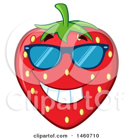 Clipart of a Strawberry Mascot Character Grinning and Wearing Sunglasses - Royalty Free Vector Illustration by Hit Toon