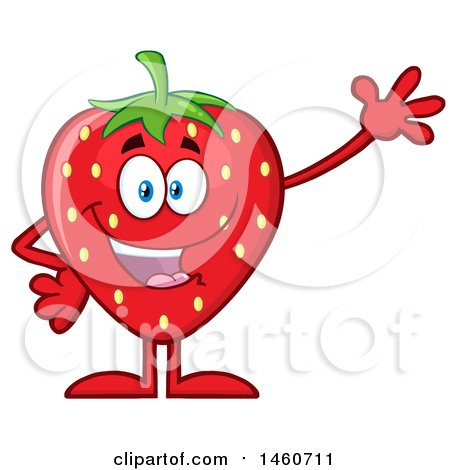 Clipart of a Strawberry Mascot Character Waving - Royalty Free Vector Illustration by Hit Toon