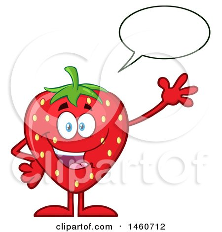 Clipart of a Strawberry Mascot Character Talking and Waving - Royalty Free Vector Illustration by Hit Toon